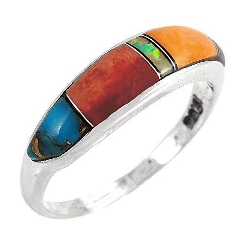 (Turquoise Ring Sterling Silver 925 Genuine Gemstones Size 5 to 11 (Multi-01, 11))