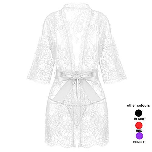 SAMLON Women's Lace Kimonos Robe Babydoll Lingerie Bath Nightgowns Mesh Chemise Nightdress for Women White ()