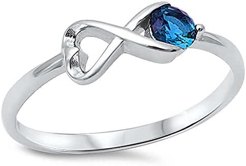 Heart Shape Infinity w/ Simulated Sapphire .925 Sterling Silver Ring sizes 4-10