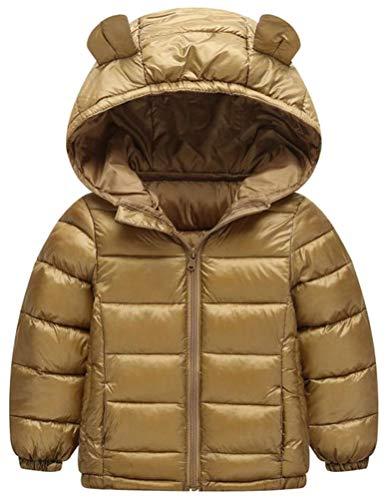Hajotrawa Boy Quilted Zip Down Warm Hooded Lightweight Jacket Parka Coat Khaki 4T by Hajotrawa