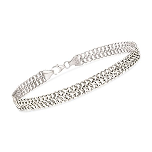 Gold Double Cable - Ross-Simons Italian 14kt White Gold Double Row Cable Bracelet