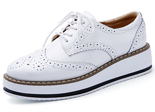 DADAWEN Women's Platform Lace-Up Wingtips Square Toe Oxfords Shoe White US Size 8/Asia Size 40/25cm