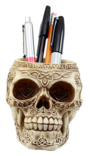 (Ebros Gift Day Of The Dead Celtic Tribal Tattoo Skull Pen Holder Figurine 4.5