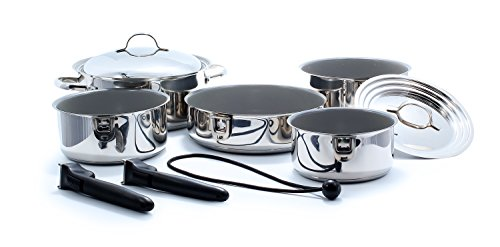 Camco 43926 Premium Ceramic Nesting Cookware Set- Non Stick Pans and Pots with Removable Handles, Space Efficient Excellent for RVs and Compact Kitchens 10- Piece Set