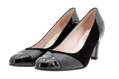 Speciale Con Scarpe Donna 9209 Comfort Piesanto Tacco Larghezza Negro Pelle P8RBwqc7