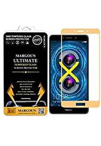 Margoun 5D for Huawei Honor 6X (5.5 inch) Tempered Glass Screen Protector - Scratch Resistance, Non Slip Grip, Quick and Easy Installation Protective Screen Protector - Gold