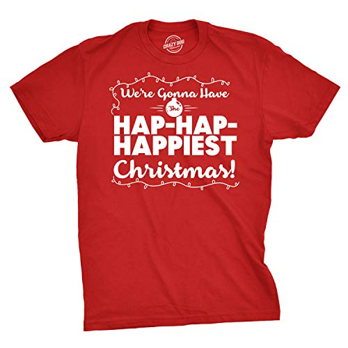 Crazy Dog T-Shirts Mens Hap Hap Happiest Christmas Holiday Lights T Shirt Red