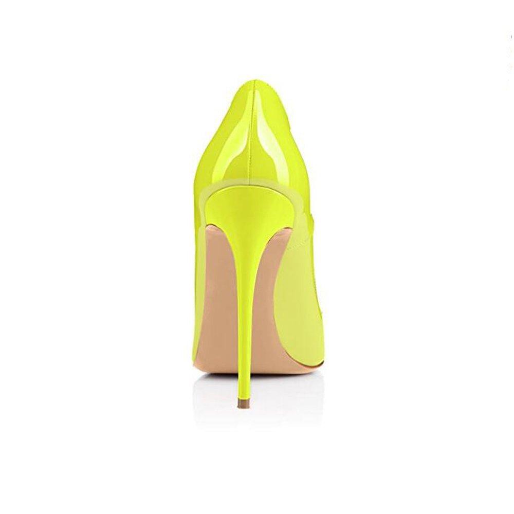 VIVIOO Tacón Alto Zapatos De Tacón Alto De Color Bombas Amarillo Fluorescente Mujeres Bombas Color Zapatos De Tacón De Aguja De Punta Estrecha Zapatos De Fiesta De Boda De Mujer, 10Cm, 8 165454