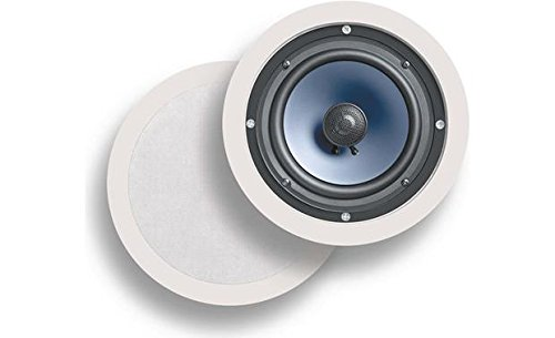 "Polk Audio RC60i 2-way Premium In-Ceiling 6.5"" Round Speakers, Set of 2 Perfect for Damp and Humid Indoor/Outdoor Placement - Bath, Kitchen, Covered Porches (White, Paintable Grille)"