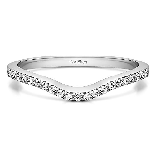 - 0.16 Carat Cubic Zirconia Twenty-One Stone Dainty Contour Wedding Band in Sterling Silver (size 7)