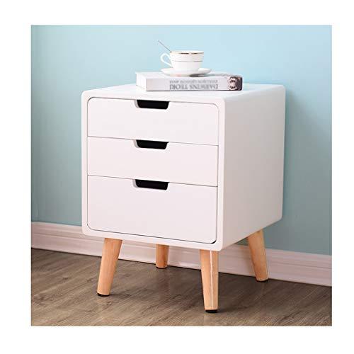 GXYAWPJ Mesita de Noche Sencilla con cajones, taquilla de Madera Maciza y Armario multifunción. Muebles (Color : Blanco)