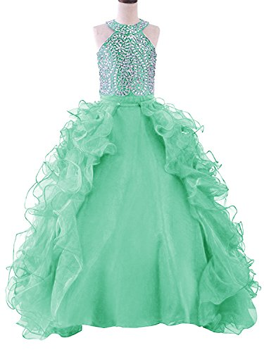 WZY Girls Crystal Beaded Ruffled Party Christmas Ball Gown Princess Pageant Dress (16, 1-Mint) by WZY