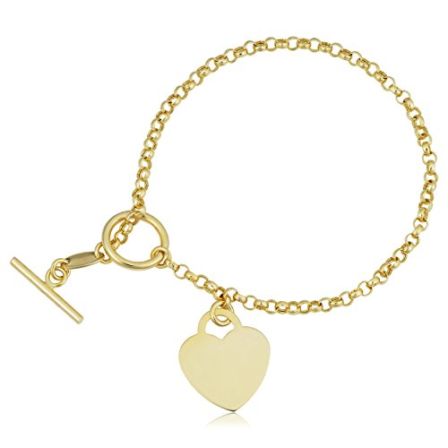 Kooljewelry 10k Yellow Gold Heart Toggle Bracelet (2.5 mm, 7.25 inch) ()
