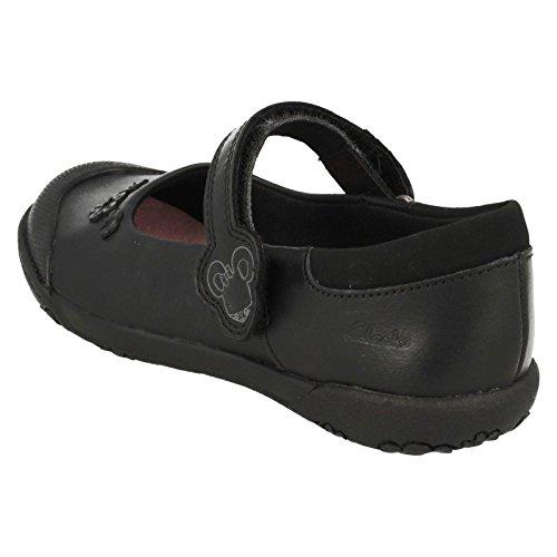 Clarks NibblesSam Vorschule Langstreckentrainings Mädchen Schuhe aus schwarzem Leder
