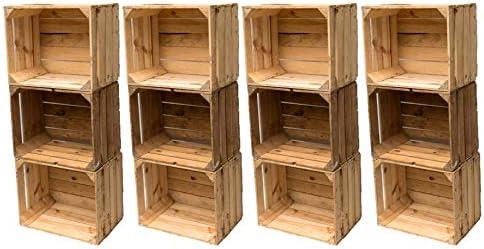 BLUMENKÜBELXXL Vintage Madera Cajas Fruta (cajón-estantería Used Look Estable y Limpiar – Apenas Usado, 12er Set: Amazon.es: Juguetes y juegos