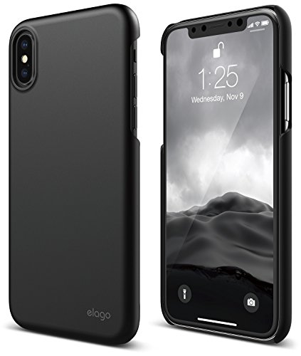 elago Slim Fit 2 Series iPhone XS, iPhone X Case - Durable Scratch Resistant Coat Minimalistic Designed Protective Cover for Apple iPhone XS (2018), iPhone X (2017) (Black)