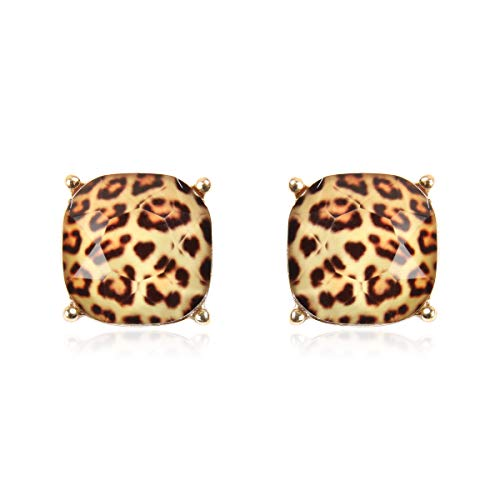(RIAH FASHION Square Acrylic Crystal Jewel Studs - Sparkly Cushion Cut Post Back Statement Earrings Small Sequin Confetti Glitter, Opalescent Faux Mother of Pearl (Faceted Jewel - Leopard))