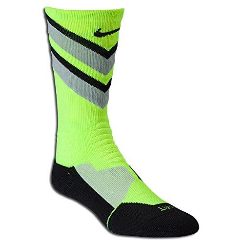 Nike Hyper Elite Chase Basketball Crew Socks (MD(9-11(, Volt) (Nike Hyper Chase)