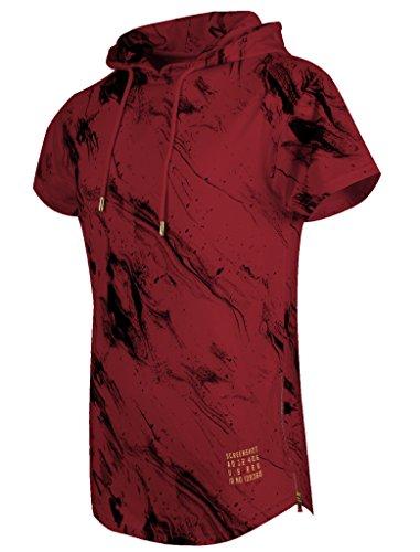SCREENSHOTBRAND Mens Hip Hop Longline Premium Tee - Pullover Hooded Fashion T-shirt w/Side Zipper