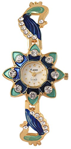Xeno ZD000420 Diamond Studded Multicolor Peacock Motif Analog White Dial Women's Watch