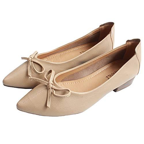 FLYRCX Los Zapatos Acentuados de tacón bajo de Las Mujeres arquean la Boca Baja Zapatos cómodos Retros de los Zapatos de Trabajo, 35 EU, B