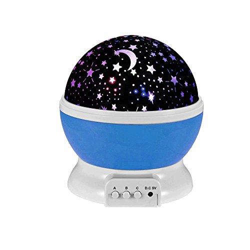 Ecandy 360 Grad drehbaren 3-Modus-Projektor-Licht Romantische Kosmos-Stern-Himmel Mond Projektionslampe Schlafzimmer Nachtlicht für Kinder, Baby, Weihnachtsgeschenke, Liebhaber USB / batteriebetrieben . (lila)