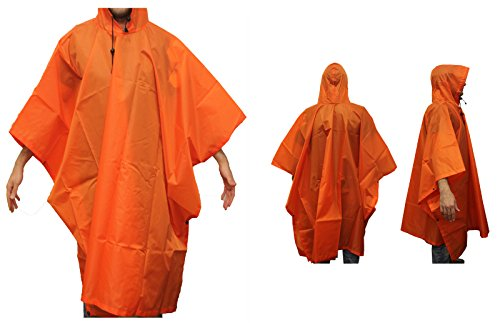 Ultimate Arms Gear Waterproof Rip Stop Neon Orange Military G.I. Style Poncho Tent Shelter by Ultimate Arms Gear