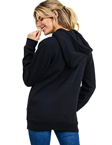 esstive Women's Ultra Soft Fleece Oversized Casual Midweight Zip-Up Hoodie Jacket