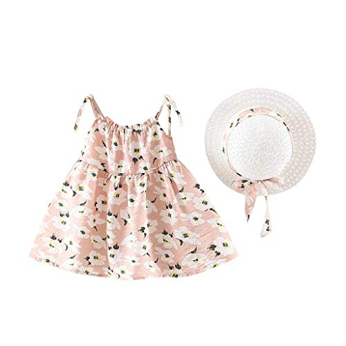 - 2Pcs Toddler Kids Baby Girls Sleeveless Floral Print Tie Side Princess Dresses with Sun Hat Set (12-18 Months, Pink)