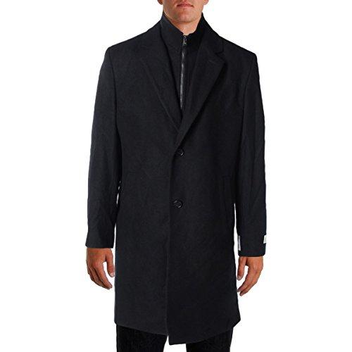 MICHAEL Michael Kors Mens Wool Signature Coat Black (Michael Kors Black Wool)