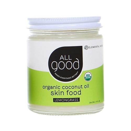 All Good Organic Coconut Oil Skin Food w/ Lemongrass Essential Oil - Natural Moisturizing Skin Care & Massage Oil - Non GMO - Vegan - 7.5 oz (Lemongrass) ()