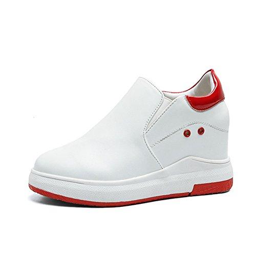 Btrada Womens Aumentato Tacco Alto Mocassini Nascosti Scarpe Piattaforma Piatta Slip On Sneakers Casual Rosso