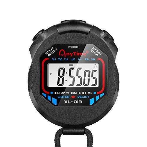 Flexzion Digital Stopwatch Timer, Water Resistant Chronograph with Large LCD Display, Alarm & Clock Function, Neck Cord Included for Running Sprinting Swimming and Outdoor Activities, Black ()