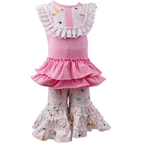b07a2173a Amazon.com  Baby Girl 2 Pieces Pant Set Summer Unicorn Rainbow ...