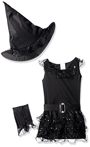 Fun World Girls Glitter Witch Costume, Black, Small 4-6