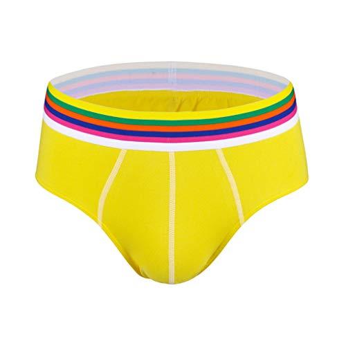 Men's Hot Fashion Colourful Sex Solid Comfortable 95% Cotton Underwear Briefs, MmNote Yellow (Hybrid Microfiber Blazer)