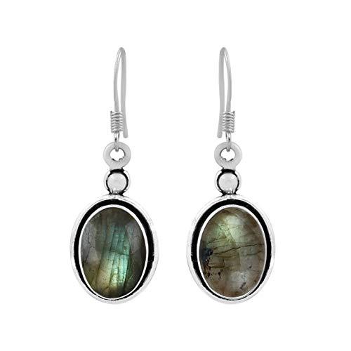 (Natural Oval Shape Labradorite Dangle Earrings 925 Silver Plated Handmade Bohemian Vintage Style For Women Girls)