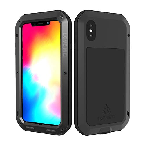 (LOVE MEI for iPhone XS Max Case with Screen Protector Tempered Glass, Military Grade Full Body Protection Shockproof Hybrid Metal and Silicone Heavy Duty Tank Case for Apple iPhone XS Max (Black) )