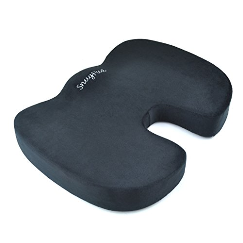 SnugPad Coccyx Orthopedic Memory Foam Seat Cushion for Back Pain Relief and Sciatica And Tailbone Pain - Ideal for Office Chair And Car Driver Seat Pillow (Seat Cushion) (Black)
