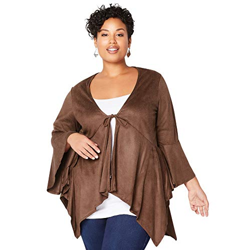 (Avenue Women's Faux Suede Sharkbite Cardigan, 30/32 Brown)