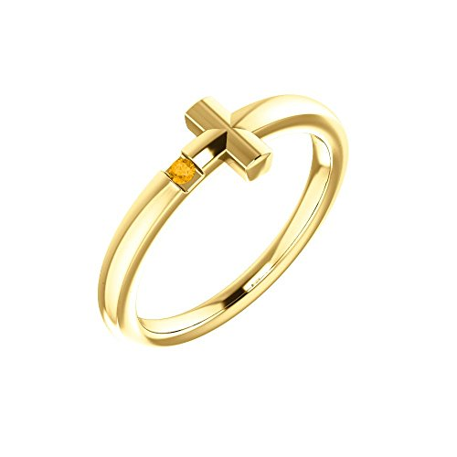 14k Yellow Gold Citrine Youth Cross Ring - Size 3 by Bonyak Jewelry