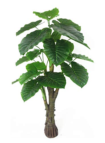 - AMERIQUE Gorgeous & Unique 6 Feet Royal Hawaiian Elephant Ear Artificial Plant with Giant Leaves, UV Protection, Feel Real Technology, Green