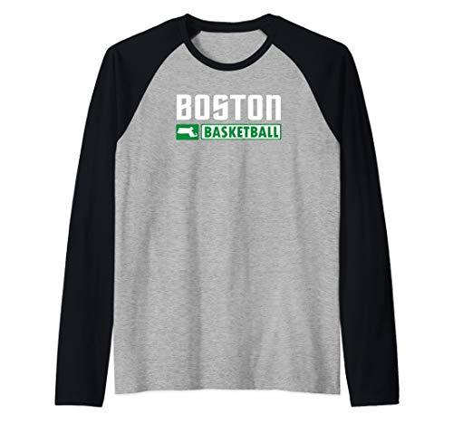 Boston Basketball T-Shirt, Massachusetts Hoops Shirt Raglan Baseball Tee (Best Basketball Players In Massachusetts High School)
