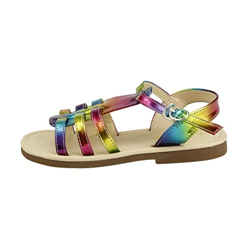 Rainbow Girls Sandals (Cool Summer Stylish Girl's Shoes Metallic Color Strappy Sandal (09, rainbow))