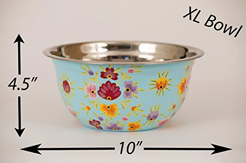 Hand Painted Stainless Steel Bowl – Large Salad Bowl, Fruit Bowl, Mixing Bowl, Decorative, Handmade Floral Art Bowl for Serving and Home Decor, 10 Inch Diameter, 3.8 quart Volume. by Spices home decor (Image #5)