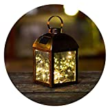GO2GARDEN LED Hanging Tabletop Solar Lantern with Firefly Fairy Star Warm White Copper Wire String Lights, Solar Decorative Outdoor Lights For Table Patio Garden Courtyard Pathway Landscape with Loops