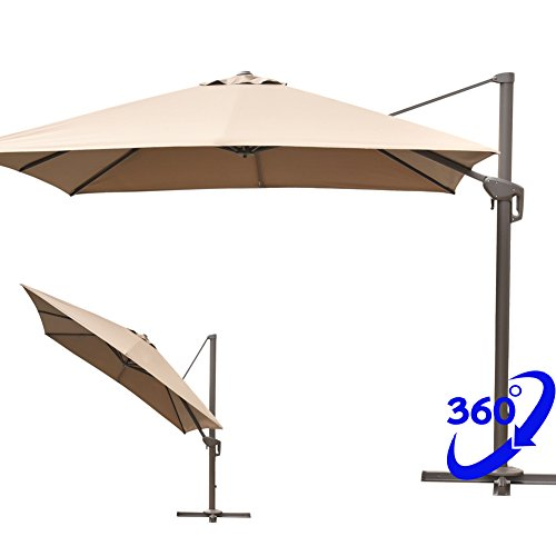 Snail 10' Square Offset Cantilever Patio Umbrella with 360 Degree Rotation, Aluminum Crank Lift Tilt & Lock, 250 gsm UV-resistant Polyester (Tan) (Offset Locks)