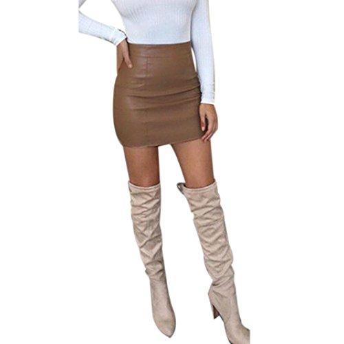 Leather 1960's Jacket Womens (TOPUNDER Sexy Bandge Leather High Waist Pencil Bodycon Hip Short Mini Skirt For Women)