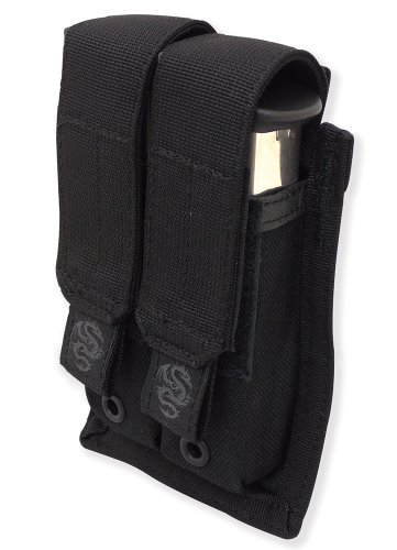 Tacprogear Double Pistol Double Row Magazine Case, Black -