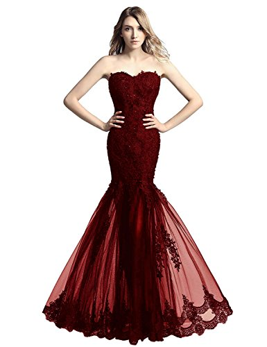 Belle House Women's Prom Dresses Burgundy Long 2018 Sexy Mermaid Celebrity Ball Gown,Burgundy,4